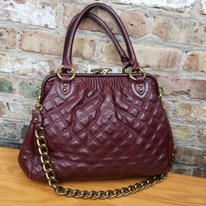Marc Jacob's burgundy quilted leather Stam Bag